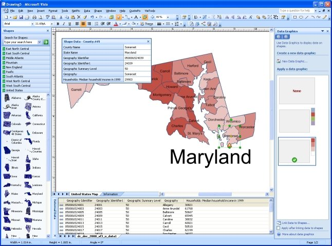 """MapShape colored """"by value"""" based on the linked data"""